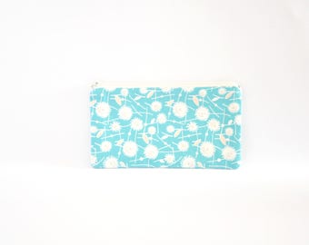 Small Floral Zipper Pouch, Zipper Bag, Makeup Pouch, Cosmetic Pouch, Coin Purse, Bag Storage Organiser - Blue Dandelions