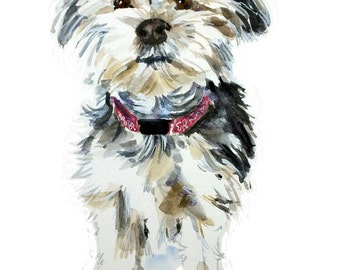 Custom Dog portrait, watercolor, pet portrait, watercolor painting, custom dog painting, dog owner gift, dog wall art
