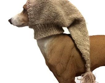 Luxury Alpaca Greyhound Snood, hand made Dog hat Whippet hat lurcher snood Italian greyhound hat, Galgo, pet hat, wool hat, dog pixie hat UK