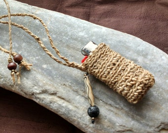 Hemp Lighter Case Necklace - Natural Handspun Hemp Lighter Cover with Lava, Bone & Brass - gift idea for smokers :)