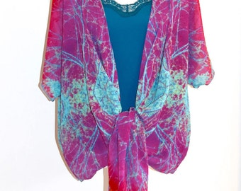 Boho Style Clothing* | Wearable Art | Festival Clothes | Draped Chiffon Cardigan | Pink Tops | Jackets | Resort & Travel Wear | For Her