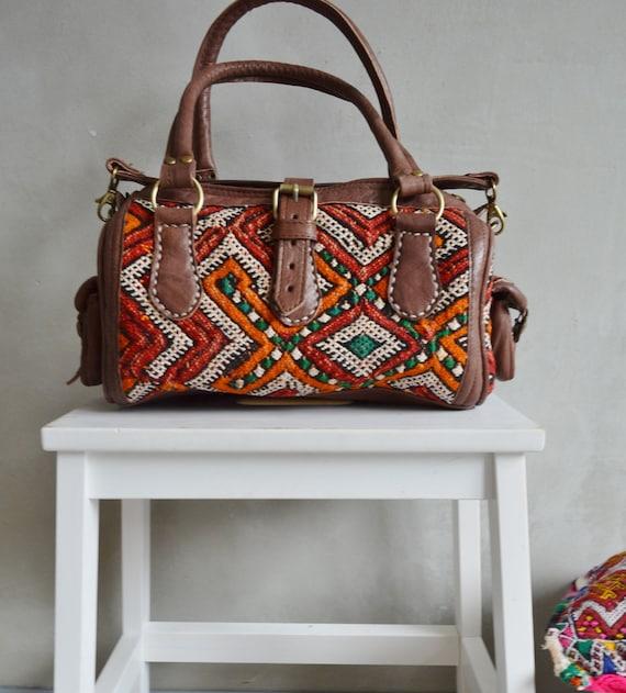 Moroccan Red Orange Kilim Leather Bag ,Satchel Cross Shoulder Straps,  Berber style-bag, tote, handbag, purse, gifts, leather bag