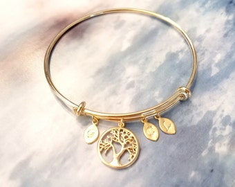 Personalized initial bangle bracelet,Mothers Day From Daughter, Son, Family Tree Bracelet Gift for Grand MOM, Mother GIFT, Wedding Gift