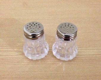 "Mini Salt & Pepper Shakers; 1.75"" Tall by 1"" Wide, in Mint Condition; Plastic Set for Small Dining or Pub Table, Breakfast Nook, or Picnics"