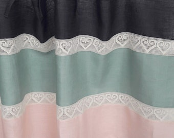 Beautiful shabby chic charming natural Linen curtains Cafe panels Color block Ties top panels Grey Mint green pink Kitchen Window valance