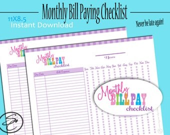Bill Pay, Bill Pay Tracker, Bill Pay Checklist, Monthly Bill Tracker, Expense Tracker, Bill Organizer, Budget, Family Planner, Printable