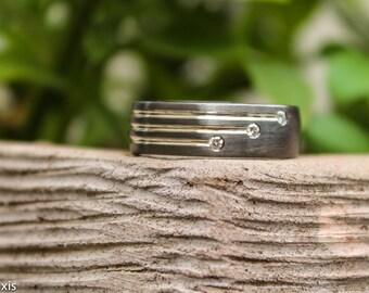 unique black rhodium plated 9k solid white gold mens designer wedding ring set with 3 f - Mens Designer Wedding Rings
