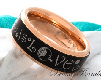 Tungsten Ring Rose Gold Black Tungsten Love Ring 8mm Mens Womens Coffee Ring Promise Ring Anniversary Ring Wedding Ring Comfort Fit New Ring