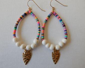 Teardrop shape earrings with colorful vinyl beads, bone beads, and brass arrowhead, beach boho jewelry, festival chic jewelry