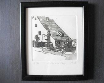 original art etching Irm Bruser, artists proof, small black and white image