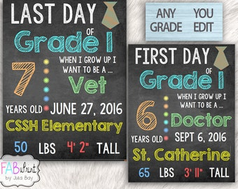 Editable First Day Of School Sign, Editable Last Day of School Chalkboard Sign, 1st Day of School, Editable Back to School Poster, Boy Tie