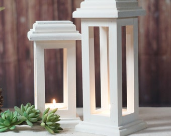 Wedding Lantern Centerpiece, Distressed Wedding White, Wedding Decor, Wedding Table Centerpiece, rustic wedding, DIY wedding, Candle Lantern