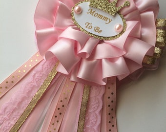 Pink and gold princess baby shower corsage/Pink and gold princess Mommy to be corsage/Crown baby shower corsage