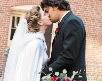 Bridal Cape Satin Cape Winter Wedding Cape Long Cloak Fur Cape Hooded Cape Winter Wedding Cloak Christmas Wedding White Wedding Bride's Cape