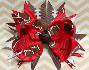 Red Football Bow