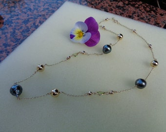 Gold chain with Tahitian pearls and Peridot, 585 gold filled, length 75 cm