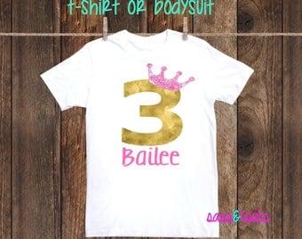 Princess Birthday Shirt Personalized Custom Age Name Pink Gold Princess Party Tiara Little Girl 1st 2nd 3rd 4th 5th 6th 7th 8th 9th birthday