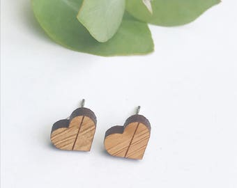Earrings studs wood hearts with geometric line - bamboo plywood and hypoallergenic surgical steel stud backing