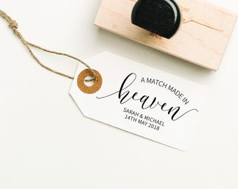 A Match Made In Heaven, Matches Favor Rubber Stamp, Matches Stamp, Customized Matches Stamp, Custom Stamp, DIY Favor Stamp (SFAVS316 - S.3)