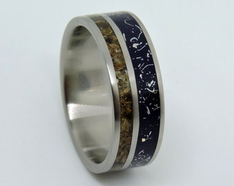 titanium meteorite and dinosaur bone ring wedding ringblue stardust wedding bandmeteorite - Dinosaur Bone Wedding Ring
