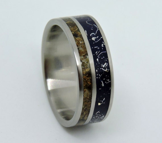 dinosaur bone wedding ring titanium meteorite and dinosaur bone ring wedding ringblue 3550