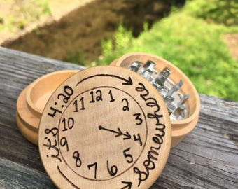 Free shipping its 420 somewhere woodburned herb grinder, 420 weed grinder