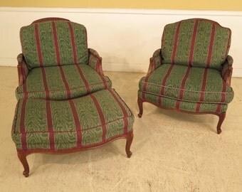 28799E: Pair ETHAN ALLEN French Louis XV Bergere Chairs w. Ottoman