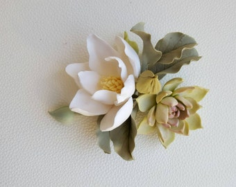 Bridal hair comb Succulent and Magnolia flower comb White Mint Green Tropical jewelry floral crown  Wedding Bohemian hair ornament Botanical
