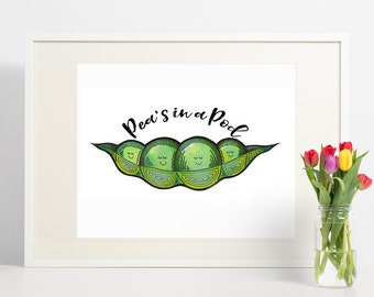 A personalised print of '4 peas in a pod'. Personalised nursery art, christening gift, birth print for baby, nursery wall art. Peas in a pod