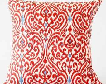 Red Ikat pillow cover, red decorative pillow cover, Ikat pillow cover, red pillow cover, boho decor, bohemian decor, multiple sizes