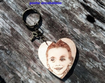 Wood hearts hand engraved/ portrait/ picture/customize/ accessories/ for her/ for him/ necklace/ keychain/ gift