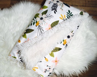 Snuggle Blanket//Winter White Floral//Minky// Faux Fur//Custom Blanket