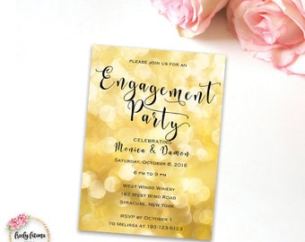 Engagement Party Invitation - We're Getting Married -Black and Gold - Gold Bokeh Sparkle - Digital Invitation - Printable Invitation