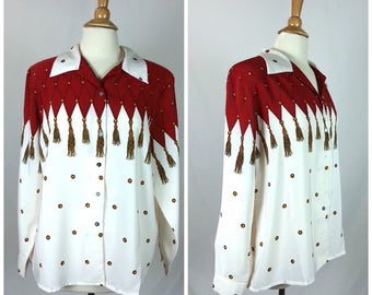 Vintage Extra Large Blouse / shoulder pads button up front long sleeves red and white patterned polyester 80s 90s womens
