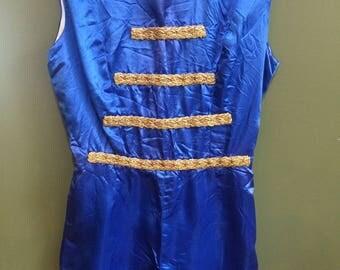 Vintage Majorette Baton Twirler Blue Satin Costume