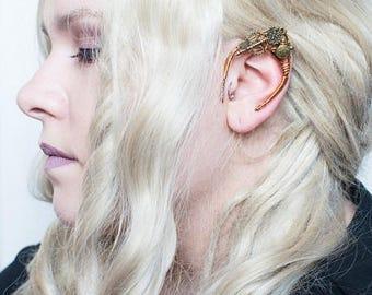 Elf Fairy Ear Steampunk ALICE in WONDERLAND fantasy fairytale cosplay ear cuff wrap - V22 brass alice motifs