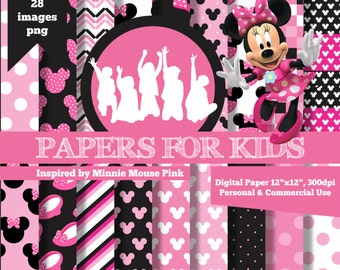 Digital Papers, Minnie Mouse Pink, Girls, Invitation, Background, Birthday, Clip art, Papers for Kids