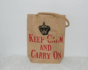 Jute, eco bag, shopping bag, keep calm and carry on