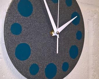 Stone effect steel clock