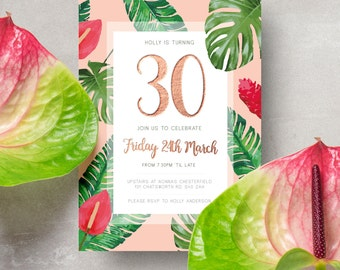 A5 Exotic Floral Personalised Invitation for any occasion - Birthday/Celebration/Shower/Renew Vows/Wedding/Christening/Hen Party