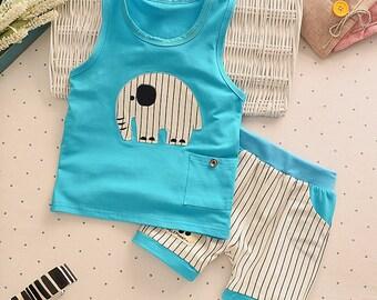 Blue Elephant Clothing Set - Boutique Style Fashion Clothing - Infant and Toddler Spring / Summer Clothing