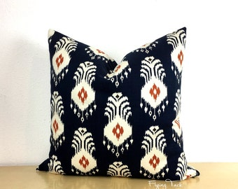 Navy, White, Orange Ikat Pillow Cover - Knife Edge finish -Nate Berkus El Convento -  Same Fabric Both Sides
