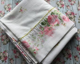 Floral Flat Sheet - Shabby Pink Roses