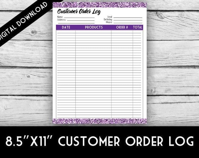 Digital CUSTOMER ORDERS CARDS - Purple Glitter, Direct Sales Inspired, Customer Tracking, Orders Log, Goal Digger, Printable Stationery