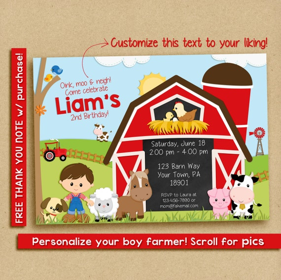 FARM BIRTHDAY Invitation, Farm Birthday Party invitation, Farm Party invite, Barnyard birthday party, Farm birthday invitation boy
