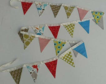 Fabric Pennant Flags, Banner, Bunting, birthday party, baby shower, boy room decor, orange, green, blue, animal, polka dot, *ready to ship!*
