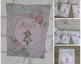 8 Alice In Wonderland Tattered Edge Table Name Cards Decoration,Wedding,Birthday,Tea Party,Craft