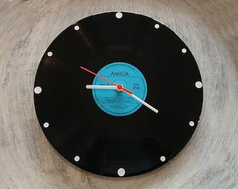 Uhr aus Schallplatte Amiga blau  LP Vinyl Deko Wall Clock Time