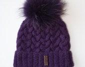 Handmade knitted Woolly purple wool hat girls womens beanie with fur pompom pom pom