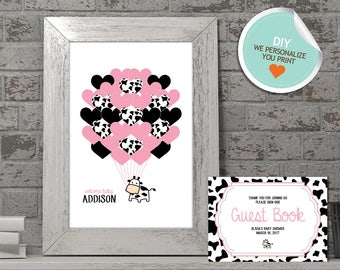Cow Baby Shower Guest Book, Cow Guest Book, Pink, Black | DIY
